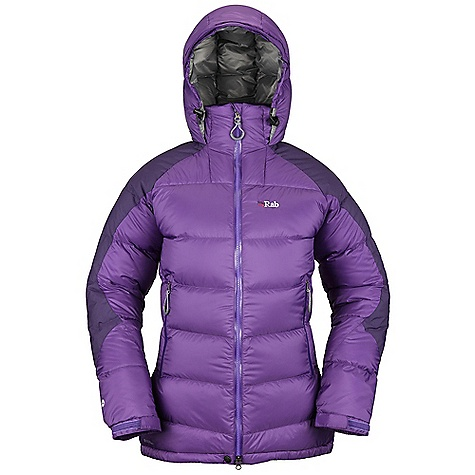Free Shipping. Rab Women's Summit Jacket DECENT FEATURES of the Rab Women's Summit Jacket Pertex Endurance fabric 100% nylon ripstop Reinforced patches 750FP European Goose Down Stitch-through baffle construction Down filled hood, helmet compatible, wired peak 2-way YKK Vislon Aquaguard front zip, internal insulated zip baffle, chin guard Separate collar, hood stow system 2 YKK Aquaguard zipped hand warmer pockets 1 YKK zipped internal security pocket 1 large internal mesh pocket Velcro cuffs, hem drawcord Articulated elbows Stuff sack Fit: Relaxed The SPECS Outer: Weight: 53g/m2 Contrast: Weight: 106g/m2 Inner: Weight: 35g/m2 Outer: Comp: 100% nylon 6 Contrast: Comp: 100% nylon Inner: Comp: 100% nylon ripstop Insulation: Fill Power: 750 Insulation: Weight: 9 oz / 255 g Type: European Goose Down Total Weight: 23 oz / 660 g This product can only be shipped within the United States. Please don't hate us. - $350.00