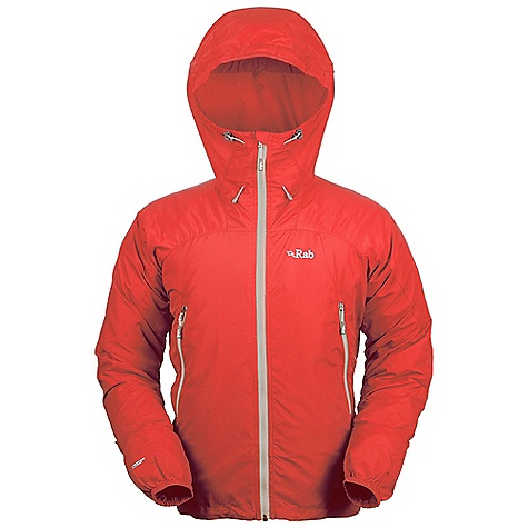 Free Shipping. Rab Men's Alpine Jacket DECENT FEATURES of the Rab Men's Alpine Jacket Pertex Equilibrium fabric Helmet compatible hood, wired peak, kitty clip roll down closure YKK front zip, internal storm flap, chin guard 2 YKK zipped A-line pockets Elasticated cuffs, hem drawcord Reflective trim Fit: Regular The SPECS Weight: 49g/m2 Comp: 100% nylon Total Weight: 8 oz / 240 g (estimate) This product can only be shipped within the United States. Please don't hate us. - $134.95