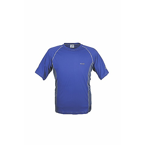 Rab Men's Aeon Tee DECENT FEATURES of the Rab Men's Aeon Tee Polyester hi-guage knit Polygiene Stay fresh odour control treatment Flatlock low bulk seams Super fast drying Reflective trim details Fit: Regular The SPECS Weight: 80g/m2 Comp: 100% polyester hi-gauge knit Total Weight: 3 oz / 95 g (estimate) This product can only be shipped within the United States. Please don't hate us. - $32.00