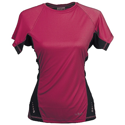 Features of the Rab Women's Aeon Tee Polyester hi-guage knit Polygiene Stay Fresh odour control treatment Flatlock low bulk seams Super fast drying Reflective trim details 30+ UPF Regular Fit - $26.99