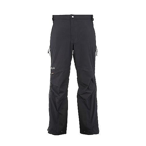 Free Shipping. Rab Men's Latok Alpine Pants DECENT FEATURES of the Rab Men's Latok Alpine Pants eVent 3L fabric 3/4 length YKK Aquaguard side zips, internal storm flap, rain drain Additional zip sliders allow venting YKK Aquaguard zip fly Part elasticated waistband Brace attachment points Knee articulation Hem drawcord Reinforced kick patches Fit: Regular The SPECS Main Weight/m2: 112 g/m2 Inside Leg Length: (L)33in. / 84 cm Main Comp: 100% nylon Knees Weight/m2: 165 g/m2 Knees Comp: 100% nylon Total Weight: 16 oz / 440 g This product can only be shipped within the United States. Please don't hate us. - $250.00
