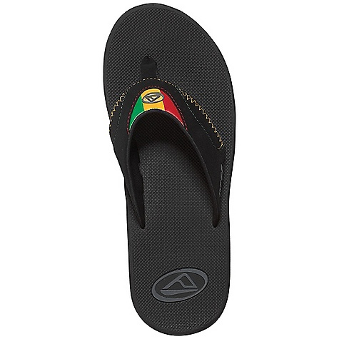 Surf Free Shipping. Reef Men's Fanning Sandal DECENT FEATURES of the Reef Men's Fanning Sandal Comfortable, water friendly synthetic nubuck upper Contoured compression molded EVA footbed with anatomical arch support Full 360deg heel airbag enclosed in soft polyurethane Church key to open your in.sodain. bottle Reef icon herringbone rubber outsole - $49.95
