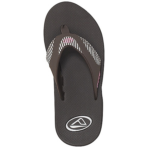 Entertainment Free Shipping. Reef Women's Fanning Sandal Decent features of the Reef Women's Fanning Mick fanning's signature sandal Water-friendly synthetic nubuck upper Contoured EVA footbed with anatomical arch support Full 360 degree heel airbag enclosed in soft polyurethane Church key to open your soda bottle - $49.95