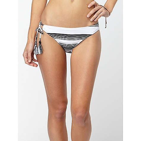 Surf On Sale. Roxy Women's Indian Beach 70s Lowrider One Tie Side DECENT FEATURES of the Roxy Women's Indian Beach 70s Lowrider One Tie Side Full coverage Medium rise Stripe loop tie side Great for water sports The SPECS 92% Polyester 8% Spandex Yarn Dye Stripe - $13.99
