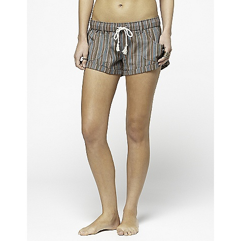 Surf On Sale. Roxy Women's Tiki DECENT FEATURES of the Roxy Women's Tiki 100% Cotton Herringbone Stripe Elastic waist pull on short Pork chop pockets Roll cuff 2.5in. inseam - $24.99