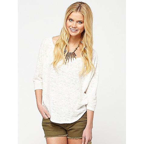 Surf On Sale. Roxy Women's Byways DECENT FEATURES of the Roxy Women's Byways 3/4 sleeve raglan dolman The SPECS 60% Cotton 40% Poly Burn Out Slub 24.5in. hps - $18.99