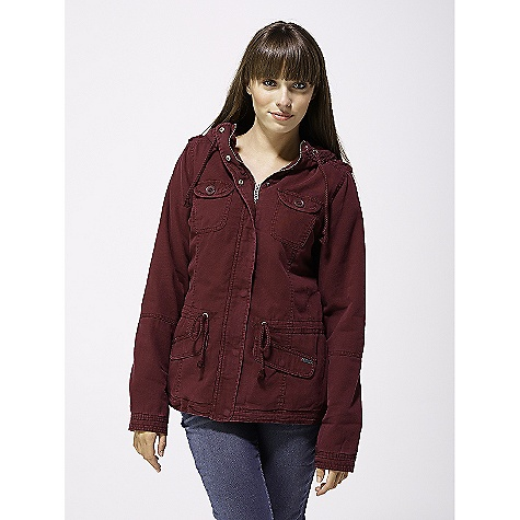 Surf On Sale. Free Shipping. Roxy Women's Cross Cliffs DECENT FEATURES of the Roxy Women's Cross Cliffs Jacket Military style jacket with crochet detail at the hood Cotton sheeting lining in body Acetate lining in sleeves 100% cotton broken twill Heavy enzyme wash 80 grams fill body / 40 grams fill sleeves 27in. to high point of shoulders - $57.99