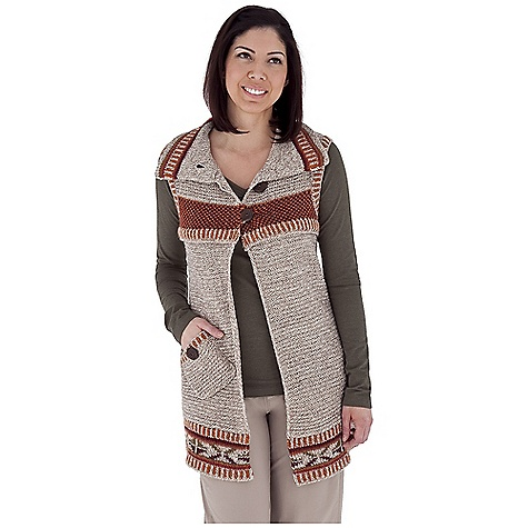 Entertainment Free Shipping. Royal Robbins Women's Mystic Vest DECENT FEATURES of the Royal Robbins Women's Mystic Vest Jacquard pattern collar and hem Novelty wood button closure Contrast rib trim at armhole and hem The SPECS Front Length: 29in. Back Length: 27in. Natural fit Fabric: Mystic Yarn - $84.95