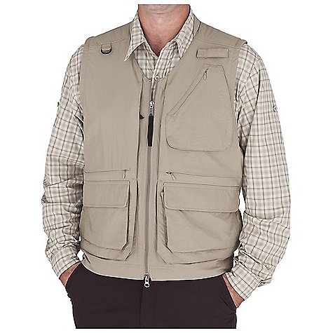 Entertainment Free Shipping. Royal Robbins Men's Field Guide Vest DECENT FEATURES of the Royal Robbins Men's Field Guide Vest Back ventilation Padded neck and shoulder Snap tab at back neck Fully mesh lined D-ring at shoulder yoke Chest pocket with key lanyard Two way zip front closure 13 exterior pockets and 4 interior pockets 28in. back length in size large The SPECS Relaxed fit Fabric: 2-Ply Nylon 3 oz 100% Nylon UPF 30+ - $88.95