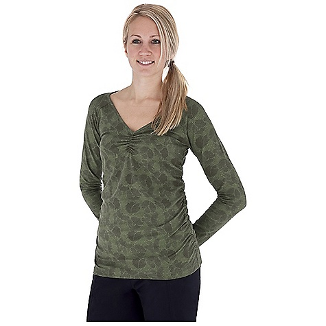 Entertainment Free Shipping. Royal Robbins Women's Essential Printed Ruched L-S V-Neck Top DECENT FEATURES of the Royal Robbins Women's Essential Printed Ruched Long Sleeve V-Neck Top UPF 50+ Ruched detail at sides The SPECS Trim fit Fabric: Stretch Jersey - $57.95