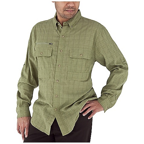 Entertainment Free Shipping. Royal Robbins Men's Austin Pass L-S Top DECENT FEATURES of the Royal Robbins Men's Austin Pass Long Sleeve Top Mesh lined yoke Drop-in chest pockets with button closure Zip secured chest pocket Back ventilation Roll-up sleeve tabs Shirt tail hem The SPECS Traditional fit Fabric: Austin Plaid - $79.95