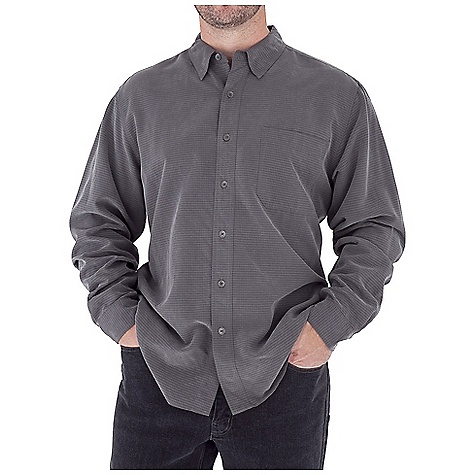 Entertainment Features of the Royal Robbins Men's Desert Pucker Long Sleeve Top UPF 27+ Sand washed finish Drop-in chest pocket with pen slot Mitered hem - $57.95