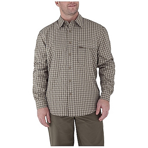 Entertainment Free Shipping. Royal Robbins Men's Echo Canyon Plaid L-S Top DECENT FEATURES of the Royal Robbins Men's Echo Canyon Plaid Long Sleeve Top Back ventilation at yoke Mesh lined yoke Zip secured chest pocket Drop-in chest pocket with hook and loop closure Roll-up sleeve tabs Shirt tail hem The SPECS Relaxed fit Fabric: Echo Canyon Plaid 4 oz 71% Polyester / 29% Nylon UPF 40+ - $69.95