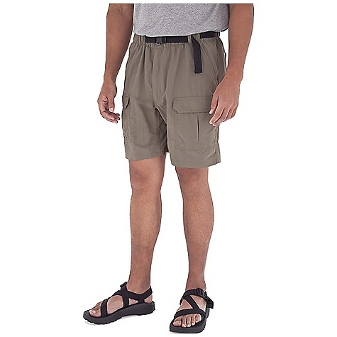 Entertainment Free Shipping. Royal Robbins Men's Backcountry Short DECENT FEATURES of the Royal Robbins Men's Backcountry Short Full elastic waist Web belt with quick release buckle Gusseted crotch Double layer seat Zip secured front pocket Hook and loop secured front and back pockets The SPECS Relaxed fit Inseam: 8in. Fabric: 3-Ply Laundered Supplex 4 oz 100% Laundered Supplex Nylon UPF 50+ - $49.95
