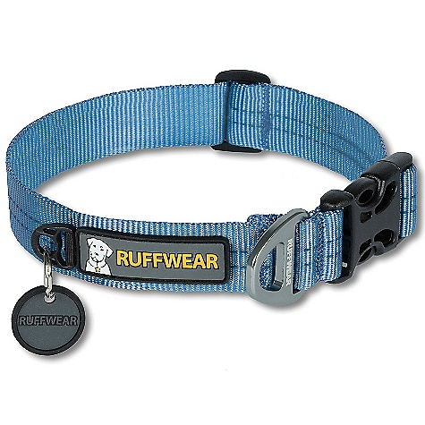 Entertainment Ruffwear Hoopie Collar DECENT FEATURES of the Ruffwear Hoopie Collar Soft, yet strong tubular webbing Single-piece, anodized aluminum V-ring provides a secure leash attachment point Easily add or remove tags with Quick Ring Silicone tag silencer to keep dog tags quiet The SPECS for Small Around Dog's Neck: 11-14in. / 28-36 cm Width of Collar: 0.78in. / 20 mm The SPECS for Medium Around Dog's Neck: 14-20in. / 36-51 cm Width of Collar: 1in. / 25 mm The SPECS for Large Around Dog's Neck: 20-26in. / 51-66 cm Width of Collar: 1in. / 25 mm - $19.95