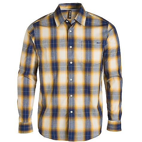 On Sale. Free Shipping. RVCA Men's Woody Plaid Long Sleeve Top DECENT FEATURES of the RVCA Men's Woody Plaid Long Sleeve Top Regular Fit Cotton/Polyester mercerized poplin, yarn dye woven long sleeve button down shirt One patch pocket at left chest RVCA embroidery at left front pocket VA Flag label at bottom left side - $24.99