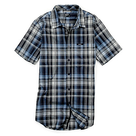 On Sale. RVCA Men's Cationic SS Shirt DECENT FEATURES of the RVCA Men's Cationic SS Slim fit 60% cotton 40% polyester poplin yarn dyed plaid Short sleeve button down shirt One patch pocket at left chest with RVCA printed patch Binding and taping details at side seams - $24.99