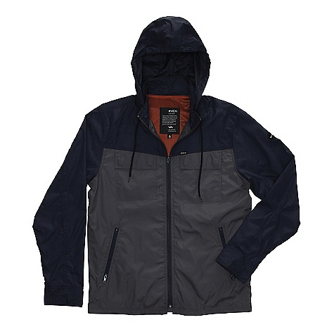 On Sale. Free Shipping. RVCA Men's Bay Blocker DECENT FEATURES of the RVCA Men's Bay Blocker Regular fit - 100% Nylon Windbreaker with mesh lining Color blocking at front and back yoke, sleeves, and welt pockets Contrast exposed zipper at front Two patch pockets at chest with flaps and hidden snap button closure Double welt pockets at lower front Pull out at collar Snap buttons at cuffs RVCA solo label above left chest RVCA motors patch at wearers left sleeve - $45.99