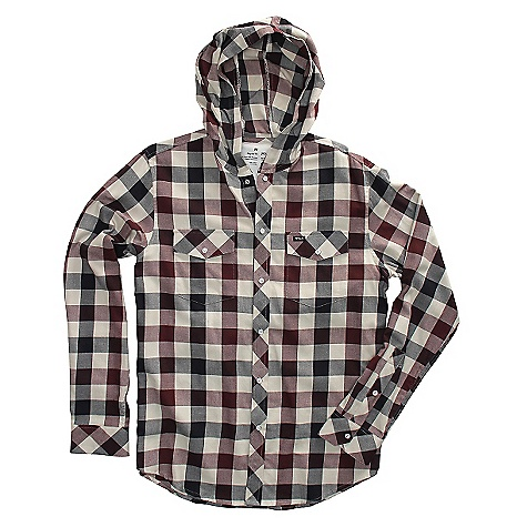 On Sale. Free Shipping. RVCA Men's Drop In L-S DECENT FEATURES of the RVCA Men's Drop in L/S Regular fit Cotton yarn dyed flannel plaid Long sleeve snap button down shirt with hood Two patch pockets Flap and button closure RVCA solo label at wearers left pocket The SPECS 100% Cotton - $39.99