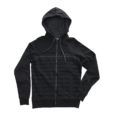 On Sale. Free Shipping. RVCA Men's Steady Zip DECENT FEATURES of the RVCA Men's Steady Zip Regular fit Long sleeve hood with zip up center front Drawcord at hood opening Welt pockets at front Ribbing at cuffs and bottom hem Chambray yoke Drawcords and jersey hood lining RVCA solo label at left chest - $45.99
