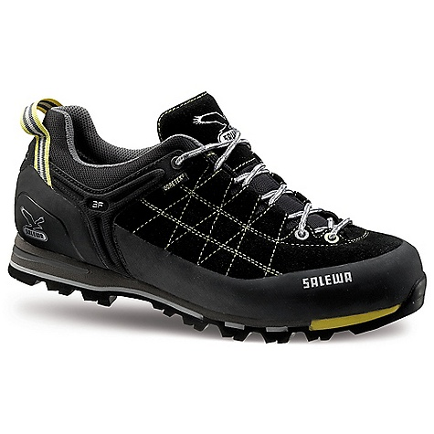 Camp and Hike Free Shipping. Salewa Men's MS MTN Trainer GTX Shoe DECENT FEATURES of the Salewa Men's MS MTN Trainer GTX Shoe Resistant suede upper Climbing rubber rand Extended lacing Sticky Vibram Alpine Approach sole GORE-TEX membrane provides ultimate waterproofness The SPECS Weight: 520 g Insole: Mid Stiff, Nylon Upper: 1.6 - 1.8 Suede, Sticky Rubber Rand - $178.95