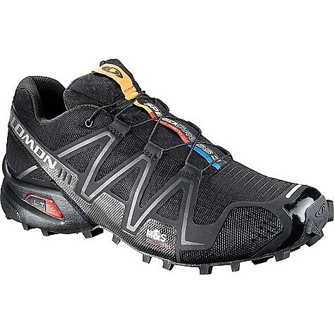 Fitness On Sale. Free Shipping. Salomon Men's Speedcross 3 Shoe FEATURES of the Salomon Men's Speedcross 3 Shoe Anti-Debris Mesh keeps rocks and junk from getting between your foot and the footbed The Sensifit system works to cradle your foot like a baby, providing a precise and secure fit Quicklace Feather Construction is a minimalistic and strong lace for one pull tightening. Get 'em on, get 'em off The lace pocket provides easy storage for the Quicklace system The Mud and Snow Non-Marking Contagrip keeps you stable in any conditions Dynamic Traction optimizes surface traction to avoid embarrassing slips The chassis uses a Profeel film; a lightweight layer built into the top of the midsole to provide protection from the trail Midsole: Molded EVA that provides lightweight cushioning and stability EVA Shaped Footbed provides excellent next to foot cushioning and anatomical support Ortholite sockliner combines Ortholite foam and an EVA heel cup that creates a cooler, drier, healthier and better cushioned environment under the foot. Mud Guard is a protective material surrounding the base of the shoe - $97.99