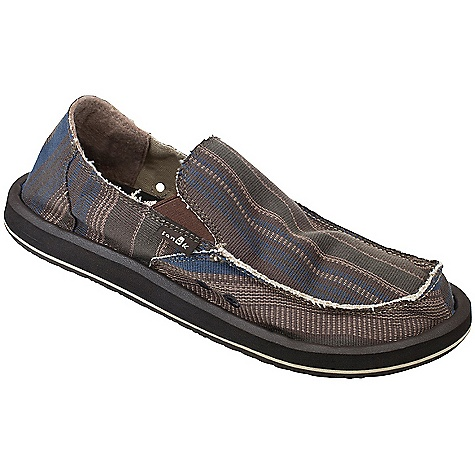 Skateboard On Sale. Free Shipping. Sanuk Men's Donny Slip On DECENT FEATURES of the Sanuk Men's Donny Slip On Super soft, high rebound, molded EVA footbed featuring aegis antimicrobial additive Happy u outsole Handmade textile upper featuring signature in.donnyin. poncho fabric and frayed edge detail with textile liner Vegan and vegetarian - $40.99