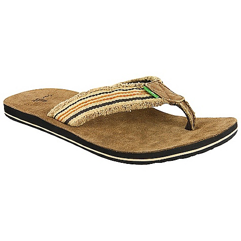 Entertainment On Sale. Sanuk Men's Fraid So Sandal DECENT FEATURES of the Sanuk Men's Fraid So Sandal Super soft, high rebound EVA footbed with premium suede sock-liner Happy u outsole Frayed canvas strap edge detailing Strap overlay detail adds additional color to a classic look Super comfy terrycloth liner - $17.99