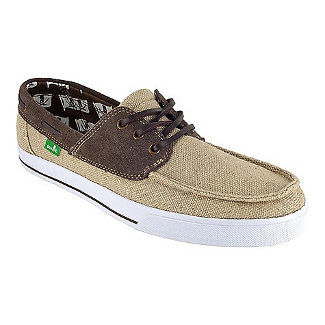 Skateboard On Sale. Free Shipping. Sanuk Men's Mariner Shoe DECENT FEATURES of the Sanuk Men's Mariner Shoe Lightweight in.Vulc-Litein. construction with canvas sock-liner featuring aegis antimicrobial additive Premium herringbone pattern rubber outsole Canvas liner with printed pirate detail Handmade, suede and canvas boat shoe upper featuring slip-on convenience with leather laces - $40.99