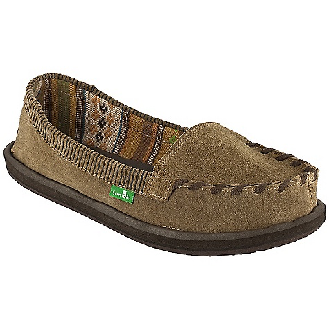 Skateboard Free Shipping. Sanuk Women's Serrano DECENT FEATURES of the Sanuk Women's Serrano Super Soft, High Rebound, Molded EVA Footbed featuring AEGIS Antimicrobial additive Happy U Rubber Sponge Outsole Handmade Short Suede Vamp Upper featuring Closed Vamp Seam Wrapped with Synthetic Micro Fiber Chord Embossed Fringe Design on Collar with Poncho Textile liner - $64.95