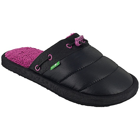 Camp and Hike On Sale. Sanuk Women's Get-Down DECENT FEATURES of the Sanuk Women's Get-Down Nylon wrapped, super soft, high rebound, molded EVA footbed featuring aegis antimicrobial additive Happy u outsole Synthetic down filled nylon upper with elastic drawcord and super comfy polar fleece chill liner Vegan and vegetarian - $25.99