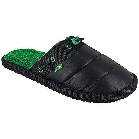 Camp and Hike On Sale. Free Shipping. Sanuk Men's Get-Down DECENT FEATURES of the Sanuk Men's Get-Down Nylon wrapped, super soft, high rebound, molded EVA footbed Happy u outsole Synthetic down filled nylon upper with elastic drawcord and super comfy polar fleece chill liner Vegan and vegetarian - $29.99