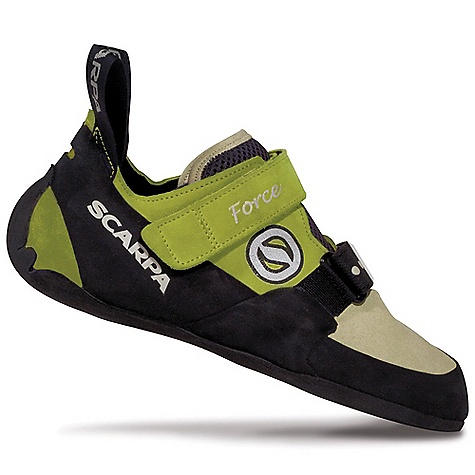 Climbing On Sale. Free Shipping. Scarpa Women's Force Shoe DECENT FEATURES of the Scarpa Women's Force Shoe V-Tension active randing system focuses energy for maximum power Proven fit of the performance-oriented FF last Dual power strap closure Blended Lorica/leather construction for maximum comfort and long-term performance Luxurious padded mesh tongue Taibrelle lined with suede footbed offers incredible fit and comfort Super-sticky Vibram XS Grip2 rubber The SPECS Upper: Suede/Lorica Lining: Taibrelle Midsole: Flexan Last: ED Sole: Vibram XS Grip2; 4mm Weight: 1/2 pair: 8 oz / 226 g - $99.99