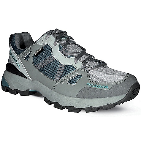 Camp and Hike On Sale. Free Shipping. Scarpa Women's Pursuit GTX Shoe DECENT FEATURES of the Scarpa Women's Pursuit GTX Shoe Planet Friendly 29% recycled polyester mesh 40% recycled synthetic leather 100% PC recycled lining; 70% recycled stroebel Lace and webbing is 100% Ecosensor recycled polyester Midsole has EVA additive to promote degradation in landfill conditions 25% recycled rubber outsole Tri-density compression molded EVA midsole with medial post and forefoot insert Structured toebox with Armorlite treatment TPU heel clip and Trailplate for stability and protection Extended Comfort Gore-Tex for protection with maximum breathability Tongue lining made with stretch GTX XCR for outstanding fit and comfort through the midfoot area The SPECS Upper: Recycled synthetic leather and recycled polyester mesh Lining: Gore-Tex - Extended Comfort Plate: Trail Plate Midsole: Tri-Density Molded EVA Outsole: Trail-Speed Last: TRL1 Weight: 1/2 pair: 12.3 oz / 349 g - $86.99