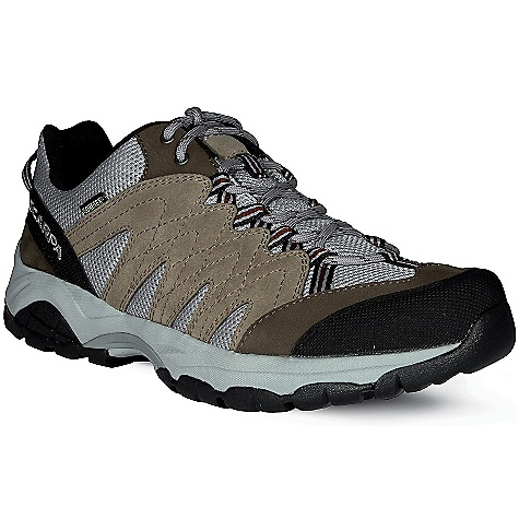 Camp and Hike Free Shipping. Scarpa Men's Moraine GTX Shoe DECENT FEATURES of the Scarpa Men's Moraine GTX Shoe Dual-density compression molded EVA midsole Structured toebox with abrasion resistant toe rand Extended Comfort Gore-Tex for protection with maximum breathability Tongue lining made with stretch GTX XCF for outstanding fit and comfort through the midfoot area Planet Friendly 29% recycled polyester mesh 40% recycled synthetic leather 100% PC recycled lining; 70% recycled stroebel Lace and webbing is 100% Ecosensor recycled polyester Midsole has Eco Pure EVA additive to promote degradation in landfill conditions 25% recycled rubber outsole The SPECS Upper: Suede/Nubuck leather and recycled polyester mesh Lining: Gore-Tex - Extended Comfort Plate: Arch Suspension Insert Midsole: Dual-Density Molded EVA Outsole: Trail-Grip Last: AX1/AXL1 Weight: 1/2 pair: 15.8 oz / 448 g - $134.95