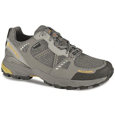 Camp and Hike On Sale. Free Shipping. Scarpa Men's Pursuit GTX Shoe DECENT FEATURES of the Scarpa Men's Pursuit GTX Shoe Planet Friendly 29% recycled polyester mesh 40% recycled synthetic leather 100% PC recycled lining; 70% recycled stroebel Lace and webbing is 100% Ecosensor recycled polyester Midsole has EVA additive to promote degradation in landfill conditions 25% recycled rubber outsole Tri-density compression molded EVA midsole with medial post and forefoot insert Structured toebox with Armorlite treatment TPU heel clip and Trailplate for stability and protection Extended Comfort Gore-Tex for protection with maximum breathability Tongue lining made with stretch GTX XCR for outstanding fit and comfort through the midfoot area The SPECS Upper: Recycled synthetic leather and recycled polyester mesh Lining: Gore-Tex - Extended Comfort Plate: Trail Plate Midsole: Tri-Density Molded EVA Outsole: Trail-Speed Last: TR1 Weight: 1/2 pair: 13.8 oz / 391 g - $92.99