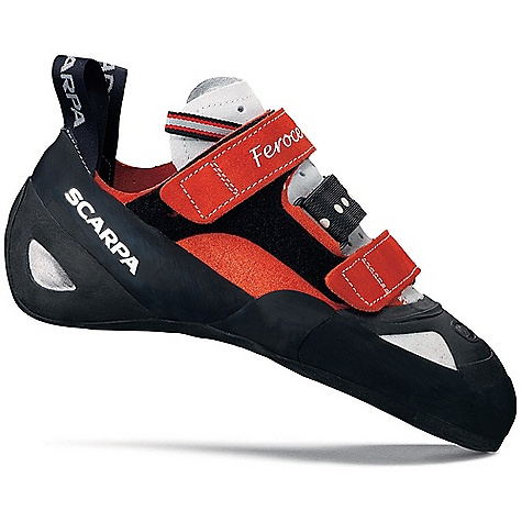 Climbing Free Shipping. Scarpa Feroce Climbing Shoe DECENT FEATURES of the Scarpa Feroce Climbing Shoe V-Tension active randing system focuses energy for maximum power Toe Power Support for pushing hard Low toe-profile last can pull on pockets, edge and fit into cracks Three power straps for a perfect fit and comfort Full-length outsole provides increased arch support Vibram XS Grip2 makes these shoes stick like glue Toecap for toe hooks and scu mming The SPECS Upper: Suede/Lorica Midsole: Toe Power Support Sole: Vibram XS Grip2; 3.5 mm Last: FO Weight: 1/2 pair: 9.2 oz / 262 g - $164.95