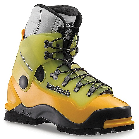 Climbing Free Shipping. Scarpa Koflach Arctis Expe Boot DECENT FEATURES of the Scarpa Koflach Arctis Expe Boot Y-Technology combines rigid plastic for support and secure crampon attachment with supple plastic for ease of lacing and natural walking comfort Comes standard with High Altitude liner and a heat reflective insole for maximum warmth Vario cuff articulation allows natural lateral and fore-aft flex Vibram Dalaugiri sole is optimal for the high alpine blending climbing zones, push and brake zones, with stability zones for true all-mountain function Steel roller lacing hardware provides unequaled tightening without the exertion Rubber randing absorbs impact and improves climb-ability Pebax plastic is light and strong in any temperature The SPECS Upper: Pebax Sole: Vibram Dalaugiri Lining Arctis Expe HA Weight: 1/2 pair: 2 lbs 14 oz / 1304 g - $428.95