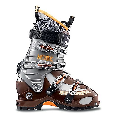 Ski Free Shipping. Scarpa Mobe Boot DECENT FEATURES of the Scarpa Mobe Boot Power Block Tour is the most powerful ski/walk mechanism available offering fixed-cuff power and rigidity Active Power Strap provides dynamic support, increasing responsiveness while eliminating shin-bang Fitting Indicator System makes getting in/out of TLT binding systems easier then ever before Custom-adjustable forward lean settings between 15 and 22 degrees V-Frame power-ribs on the cuff add strength without weight Compatible with ALL alpine touring bindings, including Dynafit SCARPA Intuition Speed Pro G liner blends high performance with allday comfort Optimized Touring Pivot for increased touring efficiency (requires special mounting Instructions: see ski owner manual for details.) The SPECS Inner Boot: Intuition Speed Pro G Shell / Cuff / Tongue: Pebax Rnew Buckles: 4 + Active Power Strap Forward Lean: 15deg - 22deg Fabric: Sole: Skywalk Active Weight: 3 lbs 15 oz / 1790 g (1/2 pair size 27) Binding System: AT, TLT - $748.95