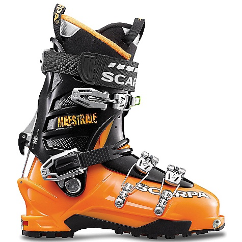 Ski Free Shipping. Scarpa Men's Maestrale Boot DECENT FEATURES of the Scarpa Men's Maestrale Boot Unique Alpine Axial closure combines the best of both overlap and cabrio boot constructions: super easy to get in/out, excellent volume adjustment, and strong support on the downhill Wiregate Tour-lock buckle clasp keep buckles in place for rapid Uphill/ downhill transitions Incredible range of cuff motion allows ideal tourability Magnesium Mirage buckles are strong and feather-light Asymetric tongue provides precise power transmission Vibram Mistral sole interfaces with bindings for maximum support and performance Quick-step fittings and Fitting Indicator System combine to make getting in/out of TLT bindings easier than ever before The SPECS Inner Boot: Intuition Pro Flex Shell / Cuff / Tongue: Pebax Renew Buckles: 4 + Active Power Strap Forward Lean: 18deg - 22deg Fabric: Sole: Vibram Mistral Weight: 3 lbs 6 oz / 1516 g (1/2 pair size 27) Binding System: TLT, AT - $598.95
