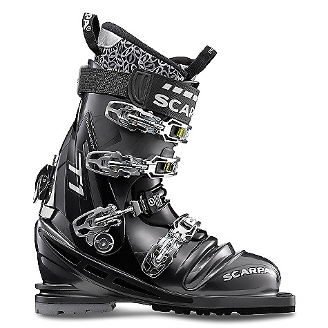 Ski On Sale. Free Shipping. Scarpa Men's T1 Boot DECENT FEATURES of the Scarpa Men's T1 Boot PowerBlock Tour forward-lean mechanism provides unmatched responsiveness while still allowing for a 'walk' mode Q-Link midstrap system provides ultimate foot lock with an improved, thicker cable for maximum durability Intuition Speed Pro G liner offers no-sacrifice performance and comfort Dual-density foot and overlap cuff optimizes driving support and touring freedom Torsion Frame provides maximum lateral stability Zero-rocker sole profile provides immediate edge initiation Four buckles plus and Active Power Strap will drive any ski at maximum speed The SPECS Inner Boot: Intuition Speed Pro G Shell / Cuff / Tongue: Pebax Renew Buckles: 4 + Active Power Strap Forward Lean: 15deg - 22deg Fabric: Sole: Vibram Escape Weight: 4 lbs 5 oz / 1972 g (1/2 pair size 27) - $523.99