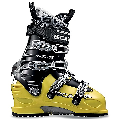 Ski Free Shipping. Scarpa Hurricane Pro Ski Boot DECENT FEATURES of the Scarpa Hurricane Pro Ski Boot Power Block Tour is the most powerful ski/walk mechanism available offering fixed-cuff power and rigidity Active Power Strap provides dynamic support, increasing responsiveness while eliminating shin-bang V-Frame power-ribs on the cuff add strength without weight DIN-standard Vibram Ride rubber sole can be used with any step-in binding: alpine or alpine touring For extra traction and walking security, the interchangeable lugged AT-compatible Vibram Rally sole is available as an accessory SCARPA Intuition Speed Pro G liner blends high performance with allday comfort Harmonized steel forefoot straps provide precise forefoot closure The SPECS Inner Boot: Intuition Speed Pro G Shell / Cuff / Tongue: Pebax Rnew Buckles: 4 + Active Power Strap Forward Lean: 15deg - 22deg Fabric: Sole: Vibram Ride Weight: 4 lbs / 1820 g (1/2 pair size 27) Binding System: ISO Alpine (DIN) - $738.95