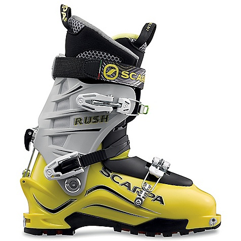 Ski Free Shipping. Scarpa Men's Rush Boot DECENT FEATURES of the Scarpa Men's Rush Boot Unique Alpine Axial closure combines the best of both overlap and cabrio boot constructions: super easy to get in/out, excellent volume adjustment, and strong support on the downhill Wiregate Tour-lock buckle clasp keep buckles in place for rapid uphill/ downhill transitions Incredible range of cuff motion allows ideal tourability Magnesium Mirage buckles are strong and feather-light Accelerator Ski/Walk mechanism offers maximum rigidity for the weight Quick-step fittings and Fitting Placement Indicators combine to make getting in/out of TLT bindings easier than ever before Active Power Strap provides incredible responsiveness Predator HRS combines new instep buckle with and integrated strap that matches perfectly with the tongue for increased downhill performance The SPECS Inner Boot: Intuition Pro Flex G3 Shell / Cuff / Tongue: Pebax Renew Buckles: 3 + Active Power Strap Forward Lean: 15deg - 19deg Fabric: Sole: Vibram Mistral Weight: 3 lbs 2.4 oz / 1430 g (1/2 pair size 27) Binding System: TLT, AT - $578.95