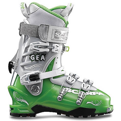 Ski Free Shipping. Scarpa Women's Gea Boot DECENT FEATURES of the Scarpa Women's Gea Boot Unique Alpine Axial closure combines the best of both overlap and cabrio boot constructions: super easy to get in/out, excellent volume adjustment, and strong support on the downhill Wiregate Tour-lock buckle clasp keep buckles in place for rapid uphill/ downhill transitions Incredible range of cuff motion allows ideal tourability Magnesium Mirage buckles are strong and feather-light Asymetric tongue provides precise power transmission Vibram Mistral sole interfaces with bindings for maximum support and performance Quick-step fittings and Fitting Placement Indicators combine to make getting in/out of TLT bindings easier than ever before The SPECS Inner Boot: Intuition Pro Flex WMN Shell / Cuff / Tongue: Pebax Renew Buckles: 4 + Active Power Strap Forward Lean: 18deg - 22deg Fabric: Sole: Vibram Mistral Weight: 2 lbs 15 oz / 1360 g (1/2 pair size 25) Binding System: TLT, AT - $598.95