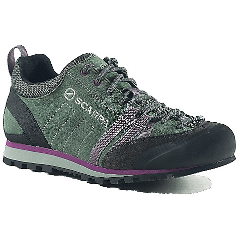 Camp and Hike Free Shipping. Scarpa Women's Crux Shoe DECENT FEATURES of the Scarpa Women's Crux Shoe Forefoot webbing with Kevlar secures forefoot for climbing precision Rubber toe rand Super sticky Vibram Vertical Approach sole Planet Friendly 29% recycled polyester mesh 40% recycled synthetic leather 100% PC recycled lining; 70% recycled stroebel Lace is 100% Ecosensor recycled polyester The SPECS Upper: Suede, recycled polyester airmesh Lining: Recycled Polyester Midsole: Microporous EVA Outsole: Vibram Vertical Approach Last: BN Weight: 1/2 pair: 11.9 oz / 337 g - $98.95