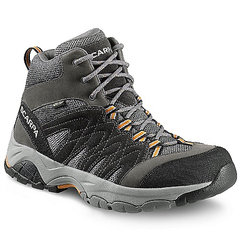 Camp and Hike Free Shipping. Scarpa Men's Moraine Mid GTX Boot DECENT FEATURES of the Scarpa Men's Moraine Mid GTX Boot Dual-density compression molded EVA midsole Structured toebox with abrasion-resistant toe rand Extended Comfort Gore-Tex for protection with maximum breathability Tongue lining made with stretch GTX XCF for outstanding fit and comfort through the midfoot area Planet Friendly 29% recycled polyester mesh 40% recycled synthetic leather 100% PC recycled lining; 70% recycled stroebel Lace and webbing is 100% Ecosensor recycled polyester Midsole has Eco pure EVA additive to promote degradation in landfill conditions 25% recycled rubber outsole The SPECS Upper: Suede/Nubuck leather and recycled polyester mesh Lining: Gore-Tex - Extended Comfort Plate: Arch Suspension Insert Midsole: Dual-Density Molded EVA Outsole: Trail-Grip Last: AX1/AXL1 Weight: 1/2 pair: 15.1 oz / 428 g - $144.95