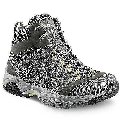Camp and Hike Free Shipping. Scarpa Women's Moraine Mid GTX Boot DECENT FEATURES of the Scarpa Women's Moraine Mid GTX Boot Dual-density compression molded EVA midsole Structured toebox with abrasion-resistant toe rand Extended Comfort Gore-Tex for protection with maximum breathability Tongue lining made with stretch GTX XCF for outstanding fit and comfort through the midfoot area Planet Friendly 29% recycled polyester mesh 40% recycled synthetic leather 100% PC recycled lining; 70% recycled stroebel Lace and webbing is 100% Ecosensor recycled polyester Midsole has Eco pure EVA additive to promote degradation in landfill conditions 25% recycled rubber outsole The SPECS Upper: Suede/Nubuck leather and recycled polyester mesh Lining: Gore-Tex - Extended Comfort Plate: Arch Suspension Insert Midsole: Dual-Density Molded EVA Outsole: Trail-Grip Last: AX1/AXL1 Weight: 1/2 pair: 12.6 oz / 357 g - $144.95