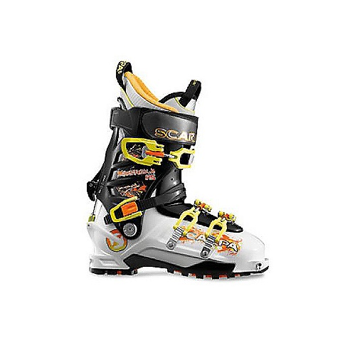 Ski Free Shipping. Scarpa Men's Maestrale RS DECENT FEATURES of the Scarpa Men's Maestrale RS 20% stiffer and only 40g heavier than the current Maestrale Asymetric tongue provides precise power transmission Liner: Intuition Pro Flex RS Predator RS instep strap allows for increased stiffness in the tongue, and its easy to engage with gloves The RS stands for the German term Renn Sport, or racing sport. This translates to downhill performance in the Maestrale RS Unique Axial Alpine closure combines the best of both overlap and cabrio boot constructions Super easy to get in/out, excellent volume adjustment, and strong support on the downhill Vibram Cayman sole interfaces with binding for maximum support and performance Zeus buckles increase power and improve cuff closure The SPECS Inner Boot: Intuition Pro Flex RS Shell | Cuff | Tongue: Polyamide I Polyamide I Pebax Buckles: 4 + 50mm Power Strap RS Forward Lean: 16deg - 20deg Sole: Vibram Cayman Weight: 1571g; 3lbs 7oz (1/2 pair size 27) Binding System: AT, TLT Forefoot width: 101mm - $698.95