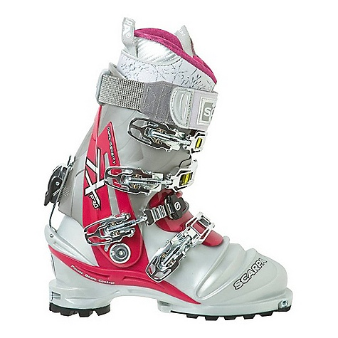 Ski Free Shipping. Scarpa Women's Terminator X Pro Ski Boot DECENT FEATURES of the Scarpa Women's Terminator X Pro Ski Boot New Telemark Norm-compatible! No tele-toe, better control downhill, easier walking/kick-stepping TLT fittings for compatibility with Dynafit, G3 and all 'Tech' bindings. Yes, you can ski free- or fixed-heel with the same boot Q-Link midstrap system provides ultimate foot lock with an improved, thicker cable for maximum durability Triple-injection foot/Bi-injection cuff = dialed performance Intuition Speed Pro G Wmn Liner offers no-sacrifice performance, comfort, and a woman's fit Pivoting tongue makes getting in and out easy The SPECS Inner Boot: Intuition Speed Pro G Wmn Shell / Cuff / Tongue: 100% Pebax Buckles: 4 + Active Power Strap Forward Lean: 14deg - 21deg Fabric: Sole: Vibram Evo Weight: 3 lbs 8 oz / 1590 g (1/2 pair size 25) Binding System: NTN, TLT - $698.95