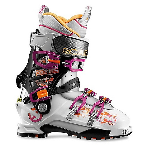 Ski On Sale. Free Shipping. Scarpa Women's Gea RS Scarpa Women's Gea RS 20% stiffer and only 40g heavier than the current Gea Asymetric tongue provides precise power transmission Liner: Intuition Pro Flex RS Wmn Predator RS instep strap Quick-step fittings The RS = the German term Renn Sport Unique Axial Alpine closure Vibram Cayman sole Zeus buckles The SPECS Inner Boot: Intuition Pro Flex RS Wmn Shell | Cuff | Tongue: Polyamide I Polyamide I Pebax Buckles: 4 + 50mm Power Strap RS Forward Lean: 16deg - 20deg Sole: Vibram Cayman Weight: 1410g; 3lbs 2oz (1/2 pair size 25) Sizes: 22.5 - 27 Binding System: AT, TLT Forefoot width: 101mm - $523.99